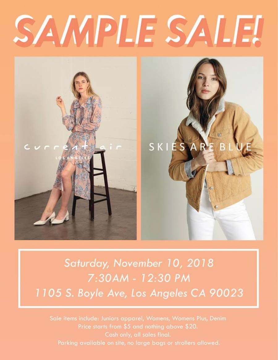 eba23796c529 Skies Are Blue and Current Air Sample Sale -- Sample sale
